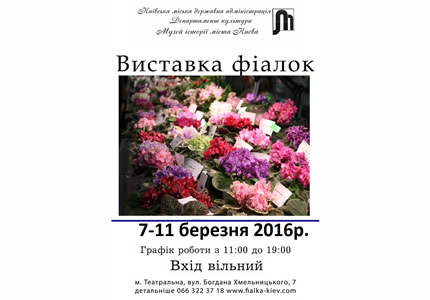 С 7 по 11 марта в Музее истории Киева пройдет выставка коллекционных фиалок