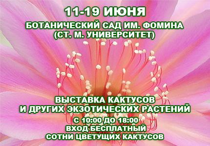 11-19 июня возле Ботсада им.Фомина пройдет выставка кактусов и других экзотических растений