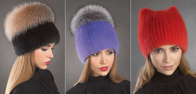 Трикотажные и меховые женские шапки