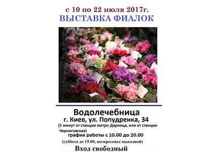 С 10 по 22 июля на территории дарницкой Водолечебницы пройдет выставка фиалок