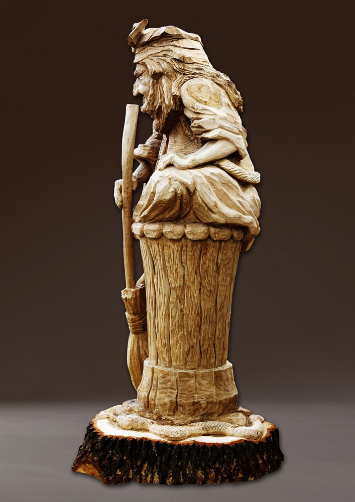 «Сказочная Баба-Яга»  Материал — дерево. Дуб.  3200 х 1100 мм. Владимир Ройок