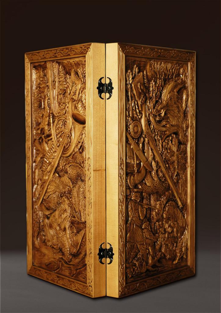 «Деревянные нарды «Охота»  Материал — дерево. Липа  700 х 700 мм. Владимир Ройок