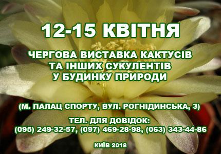 С 12 по 15 апреля в Доме природы пройдет выставка кактусов и прочих экзотических растений