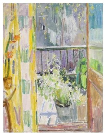 Волобуєв.На балконі.1991.полотно-олія