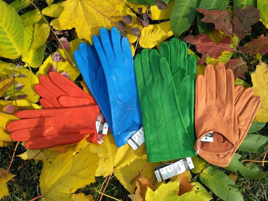 Кожаные перчатки - голубого цвета, оранжевого, зеленого, коричневого Киев