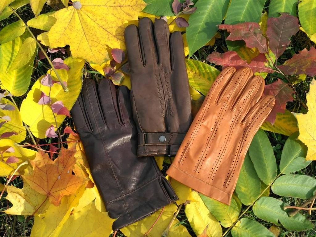 Кожаные перчатки - светло-коричневые, темно-коричневые,  охрового цвета