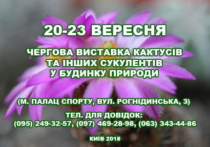 С 20 по 23 сентября в Доме природы пройдет выставка кактусов  и других экзотических растений