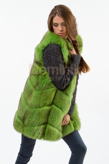 Зеленый меховой жилет песец