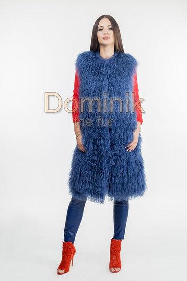 Голубой меховой жилет лама
