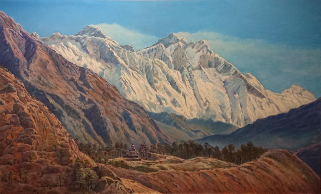 Вид на Эверест (8848м)т и Лходзе (8516м), со стороны Непала, 140х230,х.м.,2018