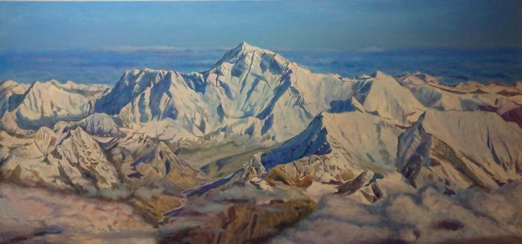 Панорама Эвереста,8848м, 130х270, х.м.,2017