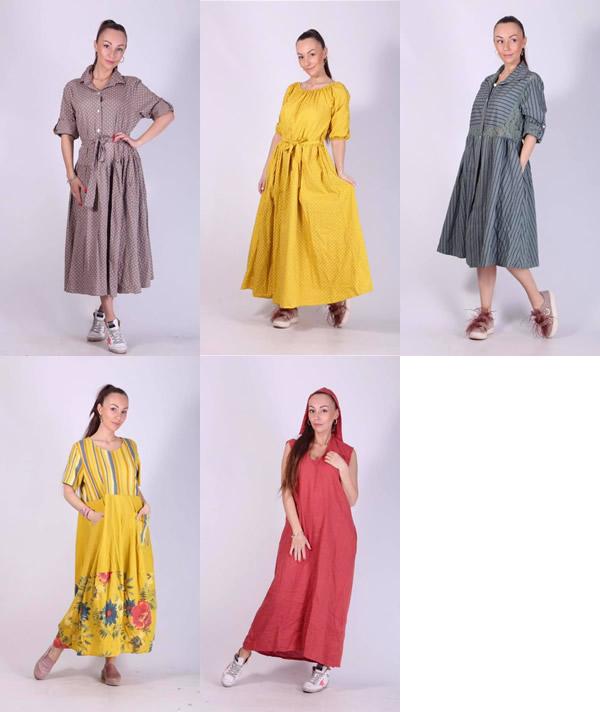 Женские летние платья из льна и хлопка