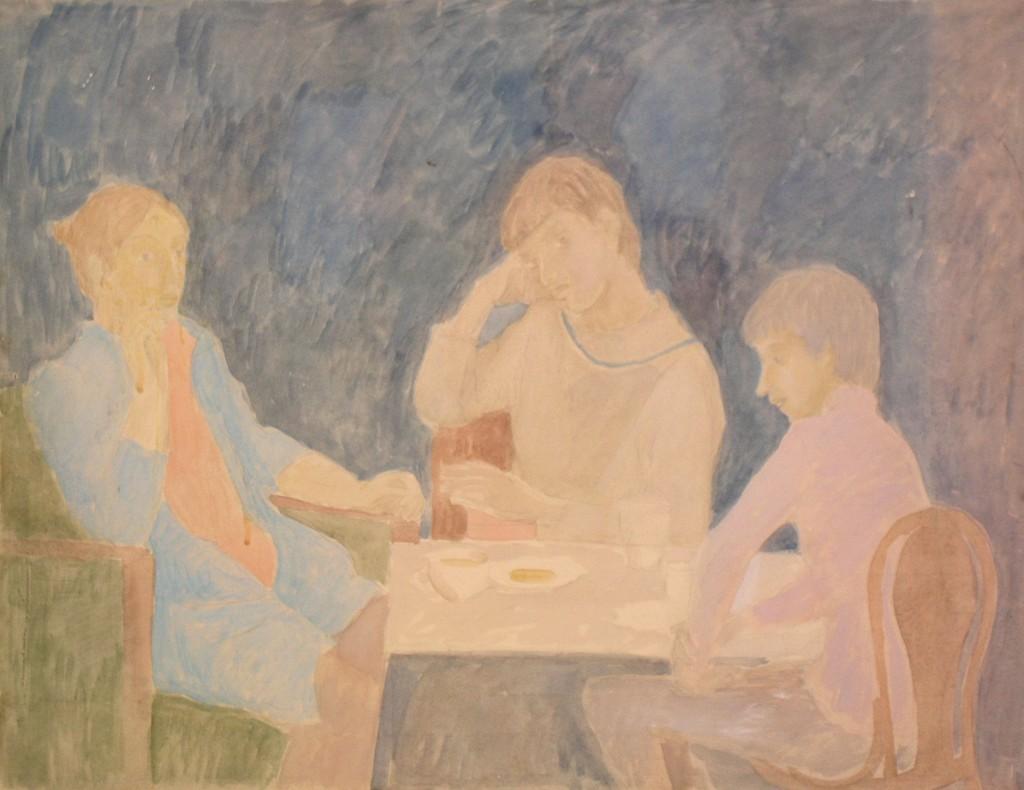 Галина Григорьева, Валентина, Сергій, Іван, діти за столом 1982