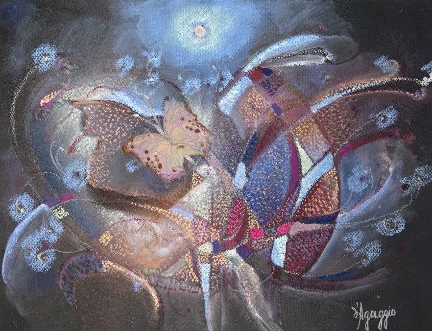 НIКОЛЬ ЛЕМЕР Д'АҐАДЖІО Нічні метелики в очеретах. Олійна пастель на японському папері, 39х28 см, 1992 - копия