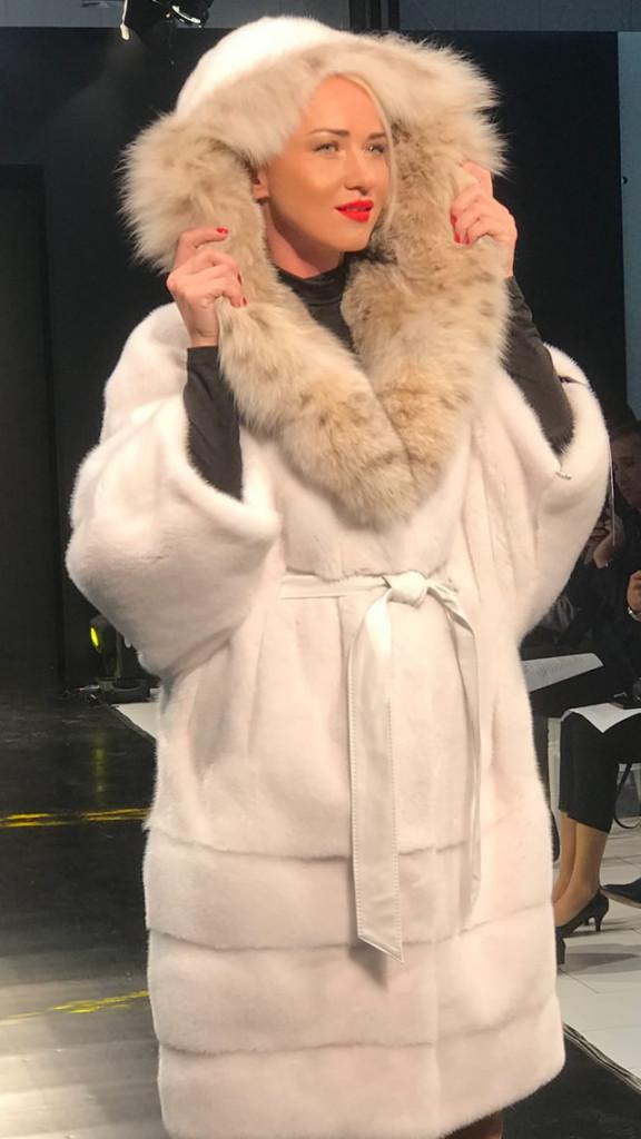 Норковая шуба с мехом рыси