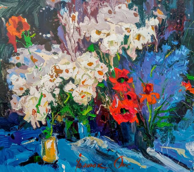 Картина  - цветы на художественной выставке Оксаны Иванюк