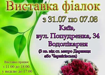 С 31 июля по 7 августа на территории дарницкой водолечебницы пройдет выставка фиалок